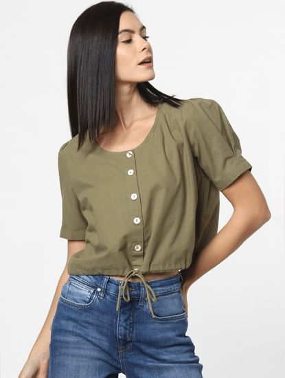 Green Cord Detail Top