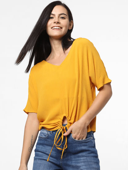 Mustard O-Drawstring Detail Top