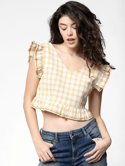 Yellow Check Crop Top