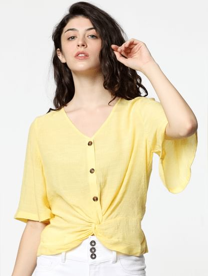 Yellow Front Twist Top