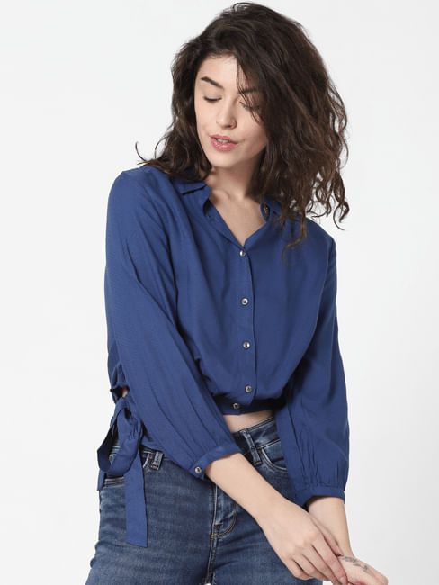 Blue Side Tie-Up Shirt