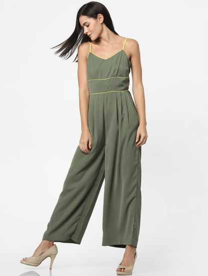 Green Wide Leg Spaghetti Jumpsuit