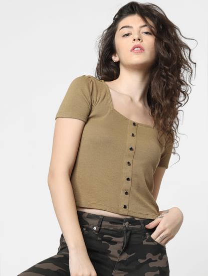 Green Buttoned Top