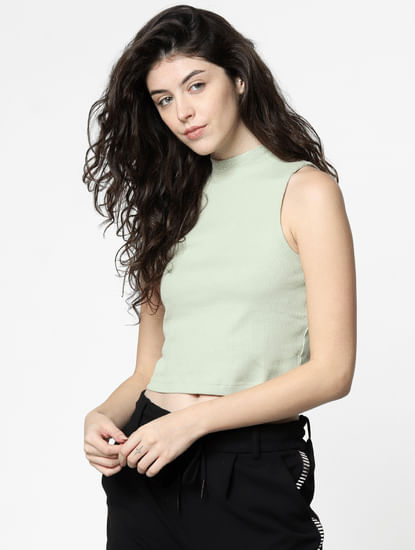 Green High Neck Cropped Top
