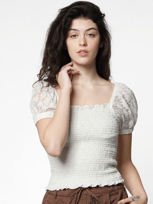 White Lace Smock Top