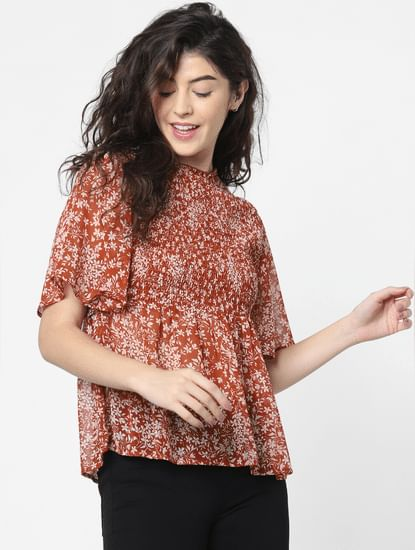 Brown Floral Print Smock Top