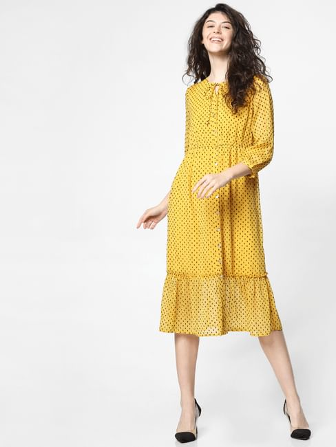 Yellow Tiered Midi Dress