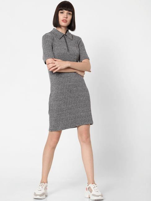 Dark Grey Ribbed T-Shirt Dress