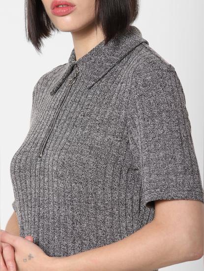 Dark Grey Ribbed T-Shirt Dress