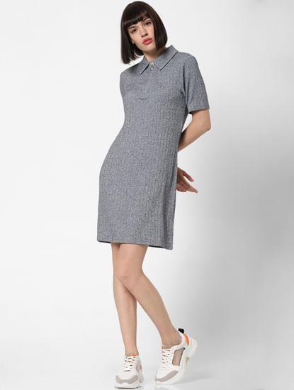 Light Grey Ribbed T-Shirt Dress