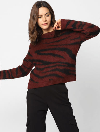 Burgundy All Over Print Pullover