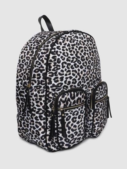White Animal Print Backpack