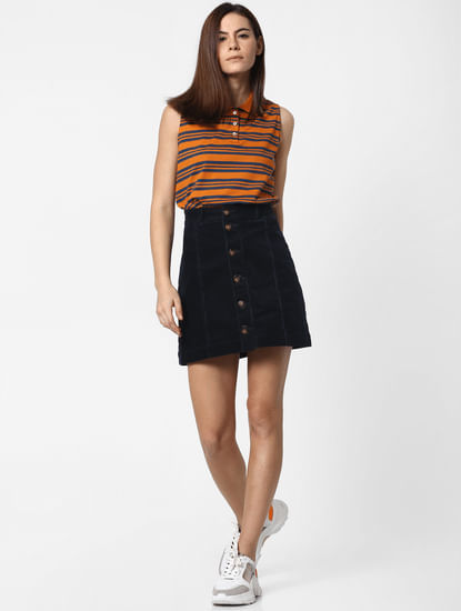 Orange Striped Polo T-Shirt