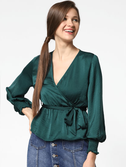 Green Satin Belted Top