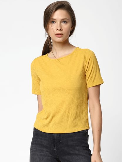 Yellow Twisted Back Top