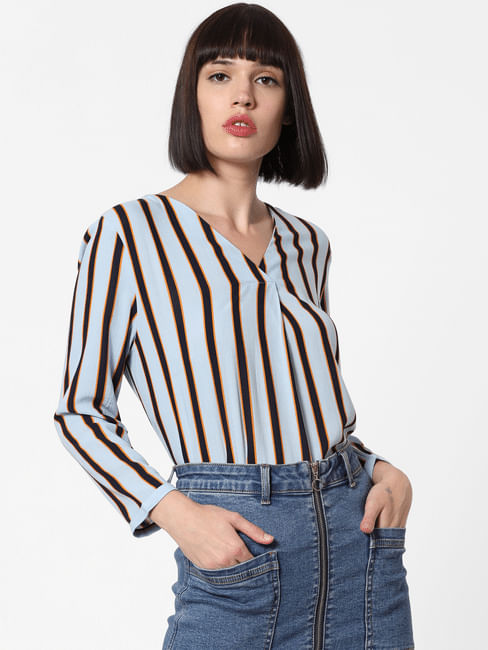 Blue Striped Top