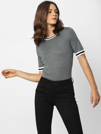Grey Lurex Ribbed Collar Pullover
