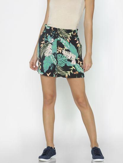 Black Botanical Print Paperbag Waist Shorts
