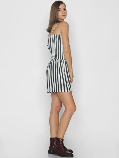 White Striped Sleeveless Playsuit