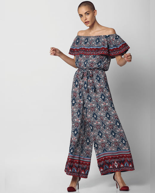 Blue Printed Off Shoulder Jumpsuit
