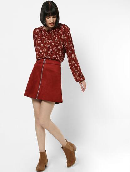 Maroon Faux Suede Mini Skirt