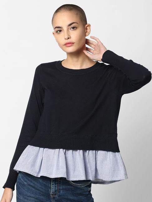 Dark Blue Peplum Striped Pullover