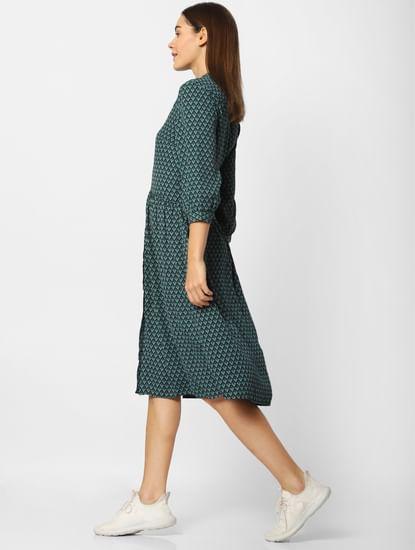 Green Printed Midi Dress