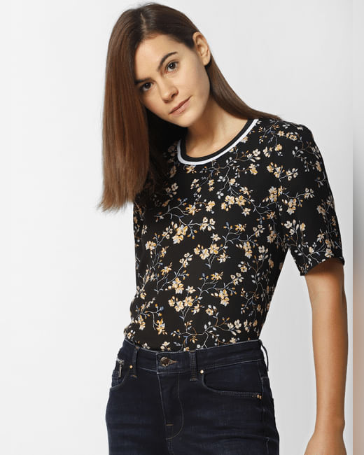 Black Floral Print Ribbed Collar Top