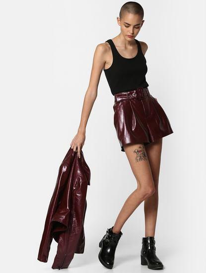 Burgundy Faux Leather Mini Shorts