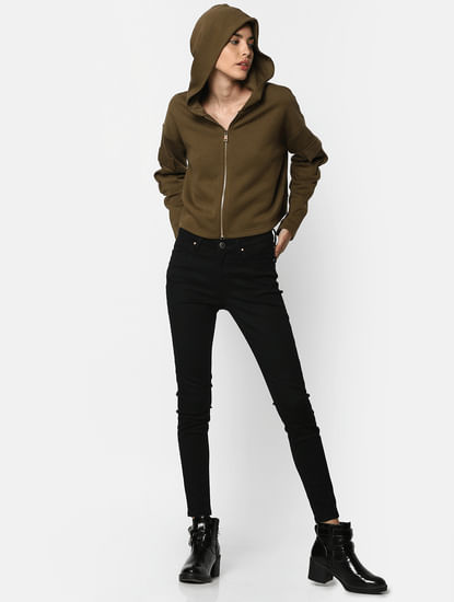 Green Cropped Hoodie Zipped Sweatshirt