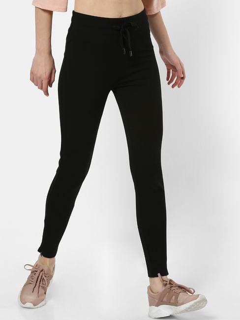 Black Drawstring Skinny Fit Leggings