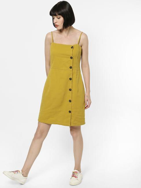 Yellow Spaghetti Strap Button Down Shift Dress