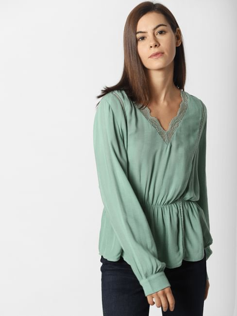 Sea Green Lace Detail Top