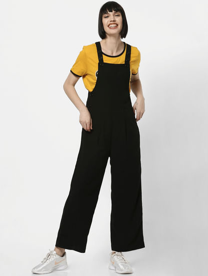 Black Regular Fit Dungarees