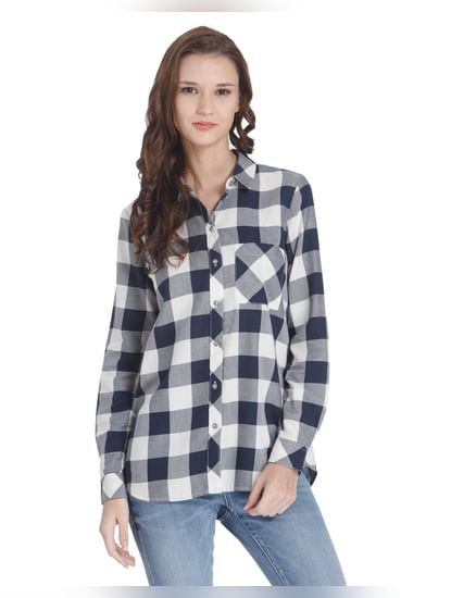 White Check Embroidered Shirt