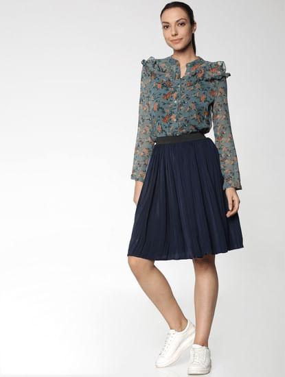 Blue Mid Rise Pleated Skirt