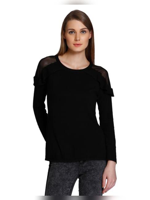 Black Ruffle Pullover