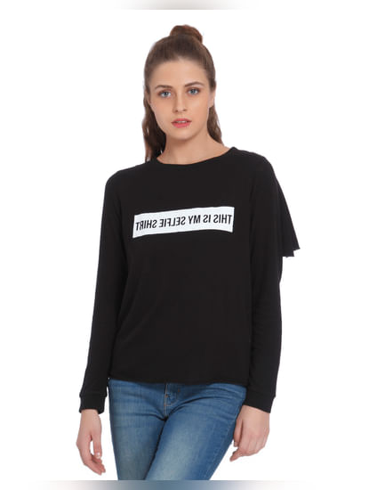 Black Text Print T-Shirt