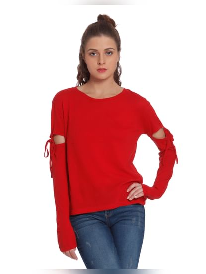 Red Cut Out Detail Top