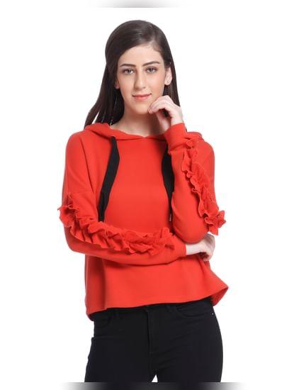 Orange Ruffle Hooded Sweatshirt