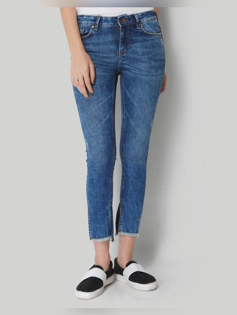 Blue Mid Rise Frayed Hem Slim Fit Jeans