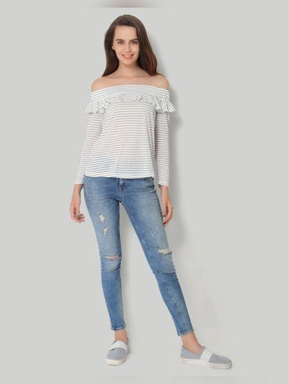 White Striped Off Shoulder Top