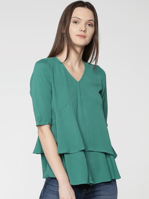 Green Layered Top