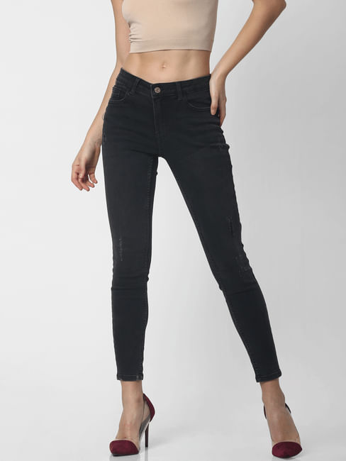 Black Mid Rise Washed Skinny Jeans