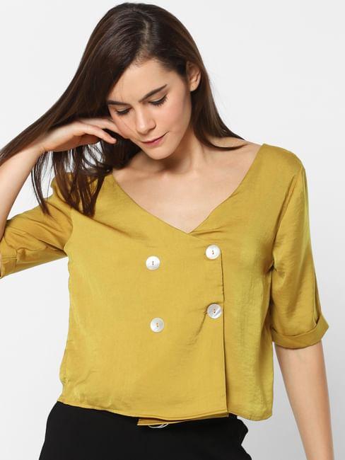 Mustard Button Up Top