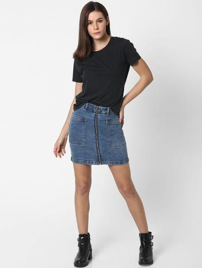 Blue High Rise Zip Up Denim Skirt