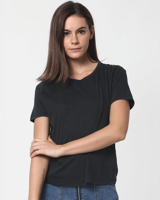Black Pearl Embellished T-Shirt