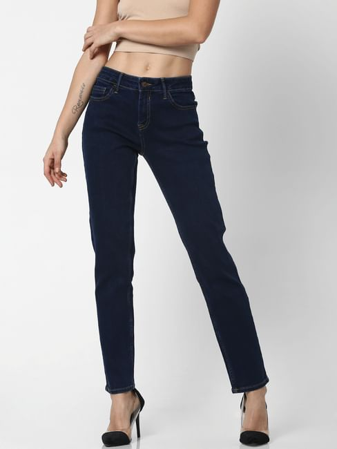 Dark Blue Mid Rise Straight Fit Jeans