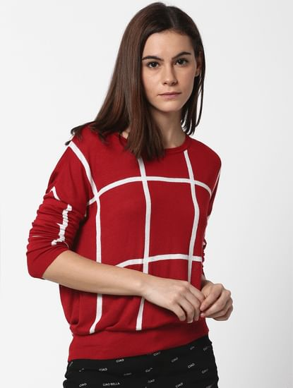 Red Check Pullover