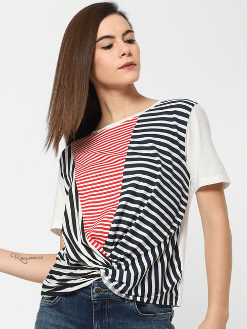 White Striped Front Twist Top